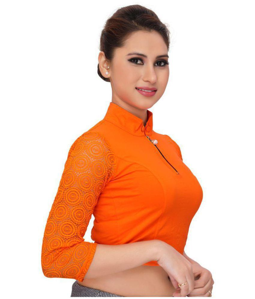 YMS Orange Polycotton Readymade without Pad Blouse