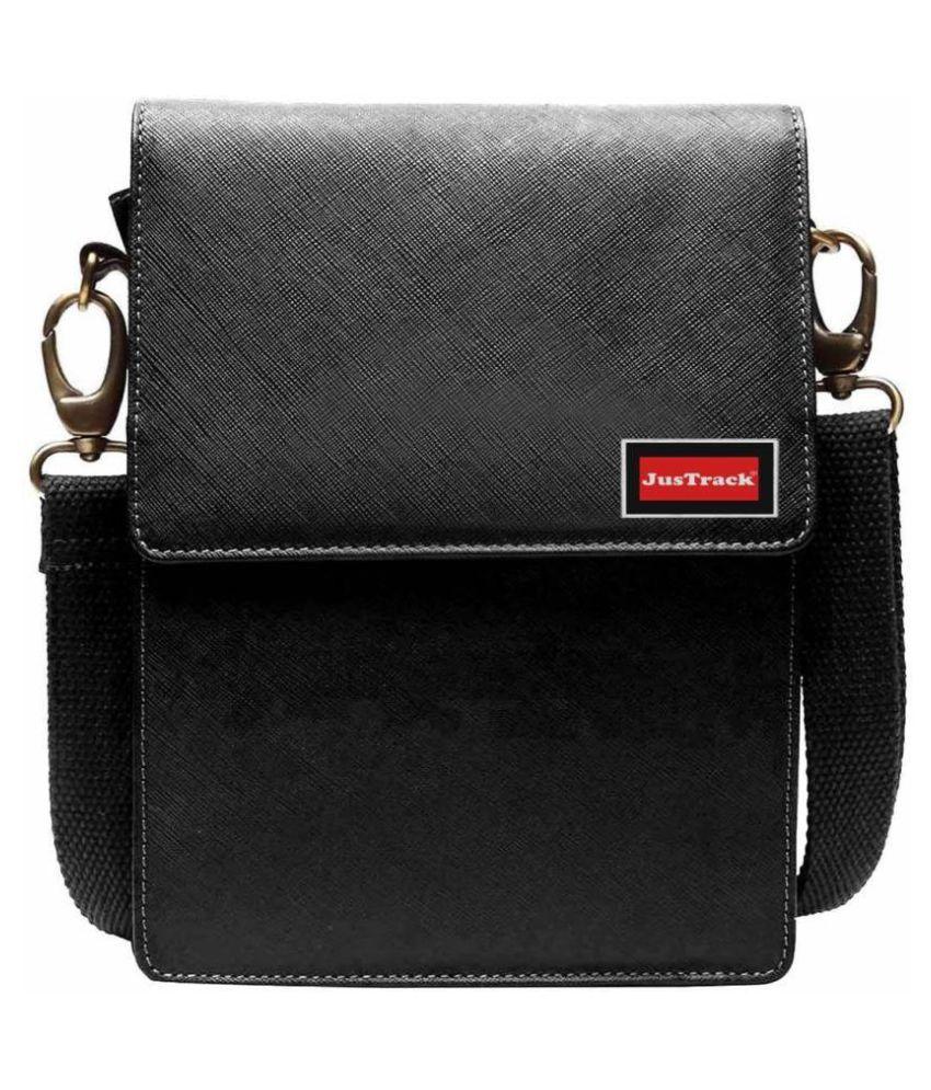 Justrack LSBU5-JT_7 Black Leather Casual Messenger Bag
