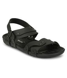 Fentacia Black Synthetic Leather Sandals