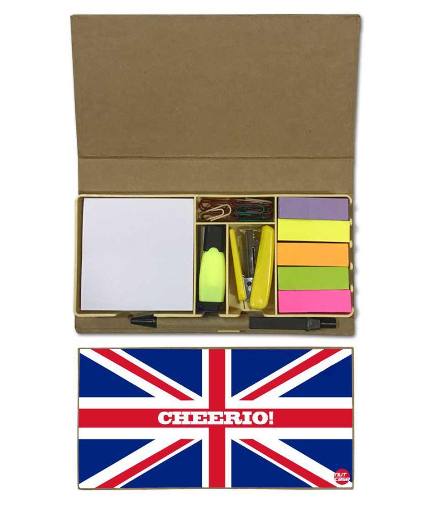 Nutcase Designer Stationary Kit Desk Customised Organizer Memo Notepad - Cheerios Union Jack British Flag