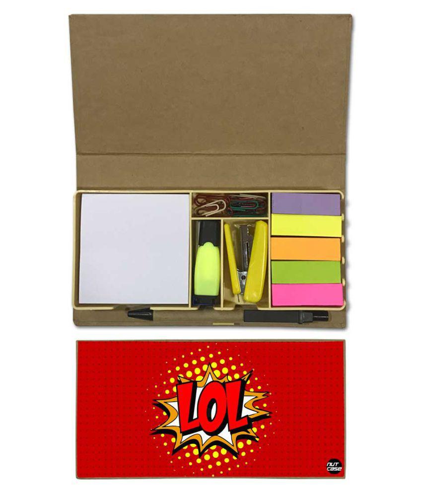 Nutcase Designer Stationary Kit Desk Customised Organizer Memo Notepad - Red Design