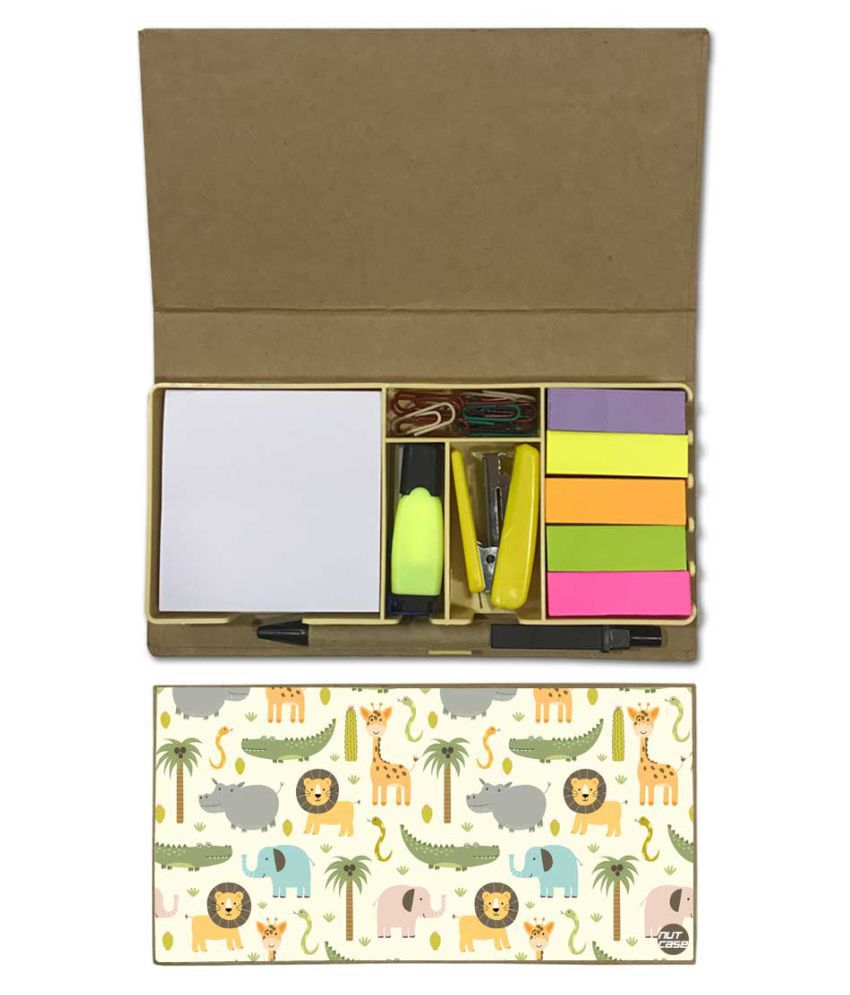 Nutcase Designer Stationary Kit Desk Customised Organizer Memo Notepad - Wild Animals