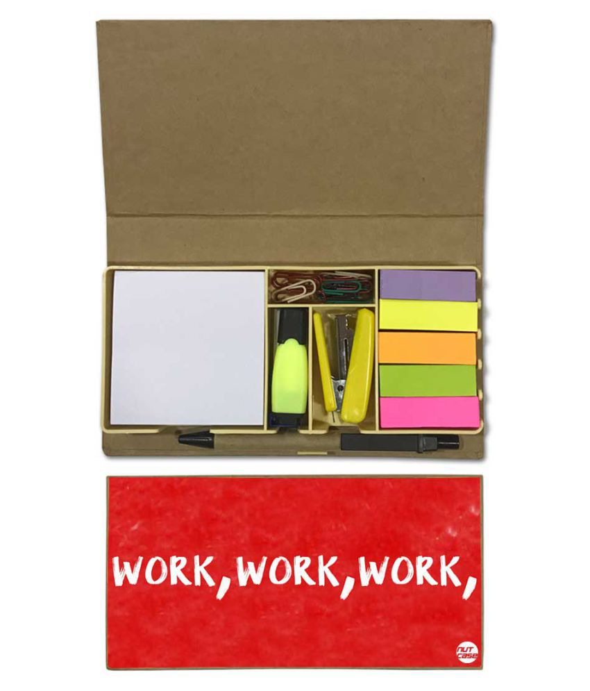 Nutcase Designer Stationary Kit Desk Customised Organizer Memo Notepad - Work, Work, Work