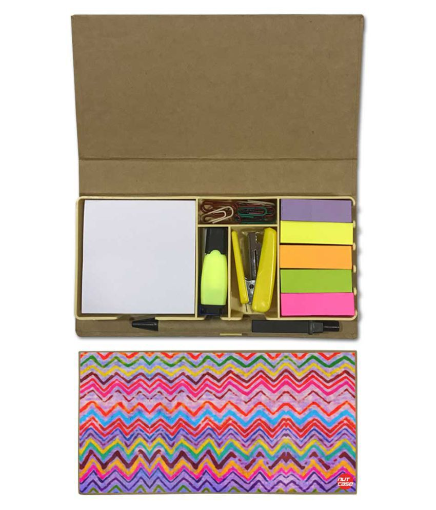 Nutcase Designer Stationary Kit Desk Customised Organizer Memo Notepad - Colorful Lines
