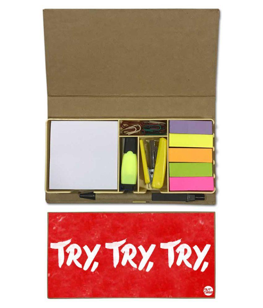 Nutcase Designer Stationary Kit Desk Customised Organizer Memo Notepad - Try, Try, Try