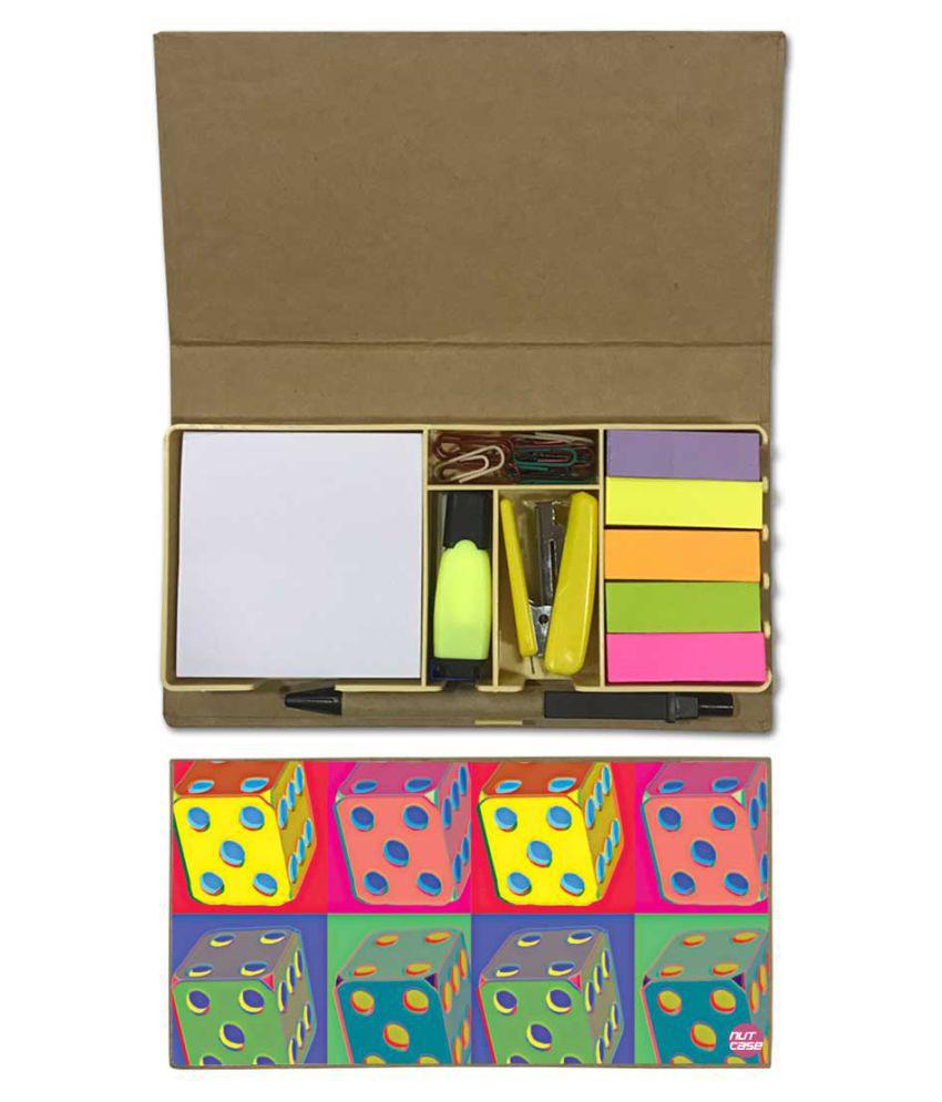 Nutcase Designer Stationary Kit Desk Customised Organizer Memo Notepad - Colorful Ludo