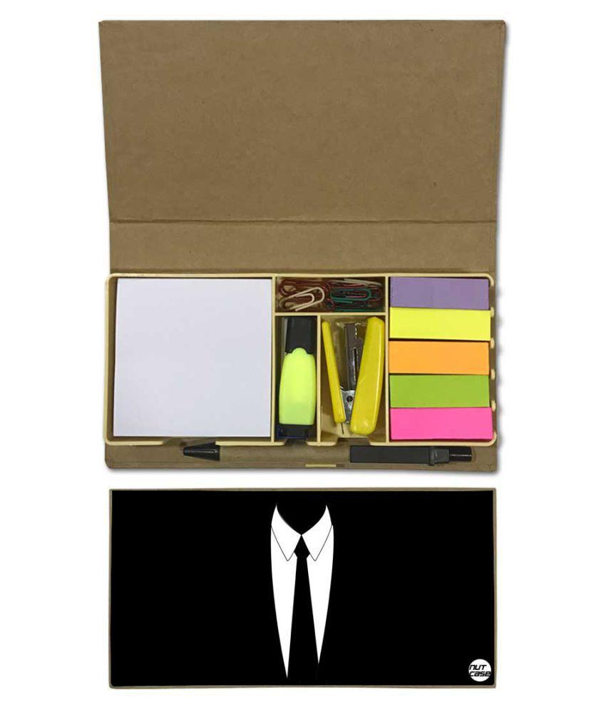 Nutcase Designer Stationary Kit Desk Customised Organizer Memo Notepad - Suit Up