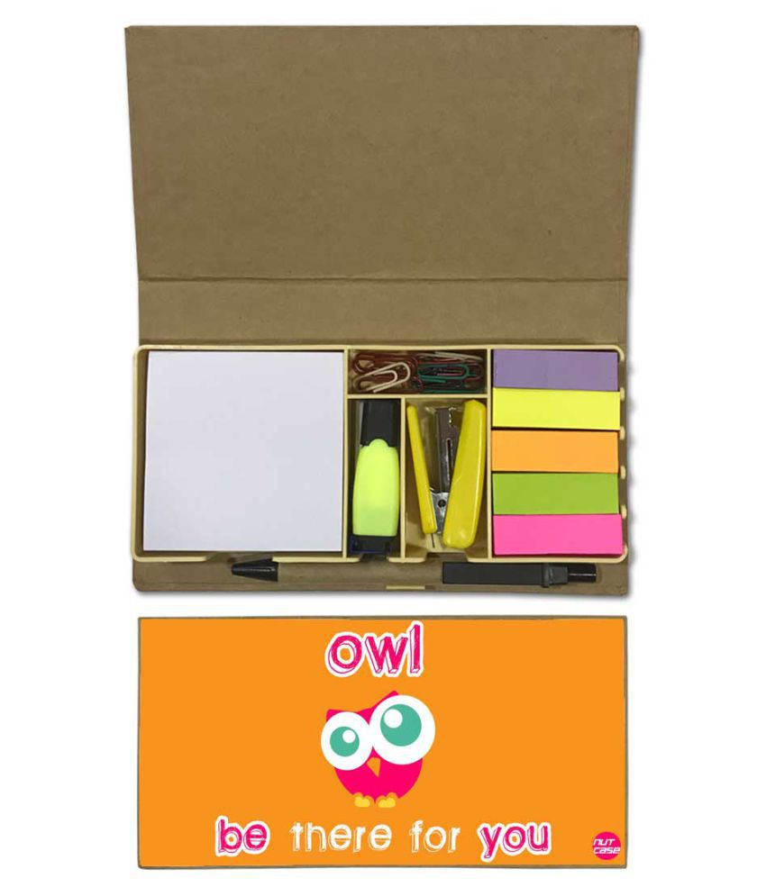 Nutcase Designer Stationary Kit Desk Customised Organizer Memo Notepad - Owl Be There For You