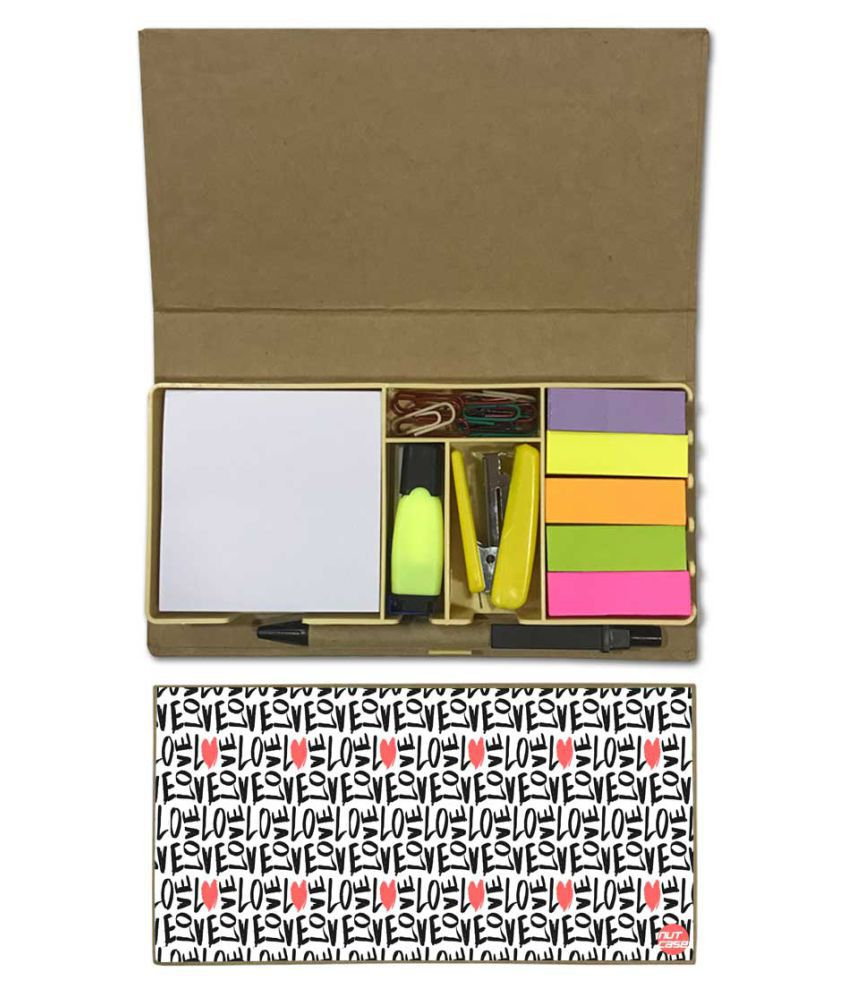 Nutcase Designer Stationary Kit Desk Customised Organizer Memo Notepad - Love