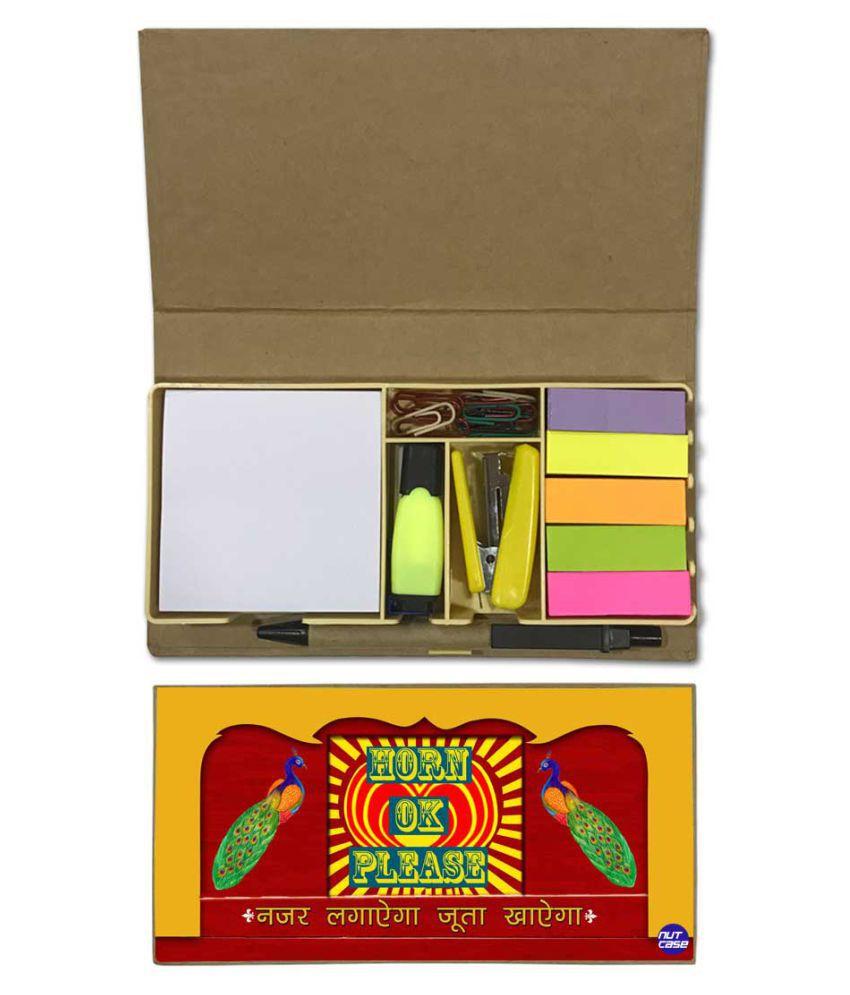 Nutcase Designer Stationary Kit Desk Customised Organizer Memo Notepad - Horn Ok Please