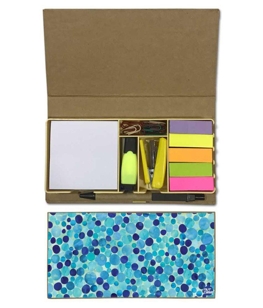 Nutcase Designer Stationary Kit Desk Customised Organizer Memo Notepad - Blue Circle