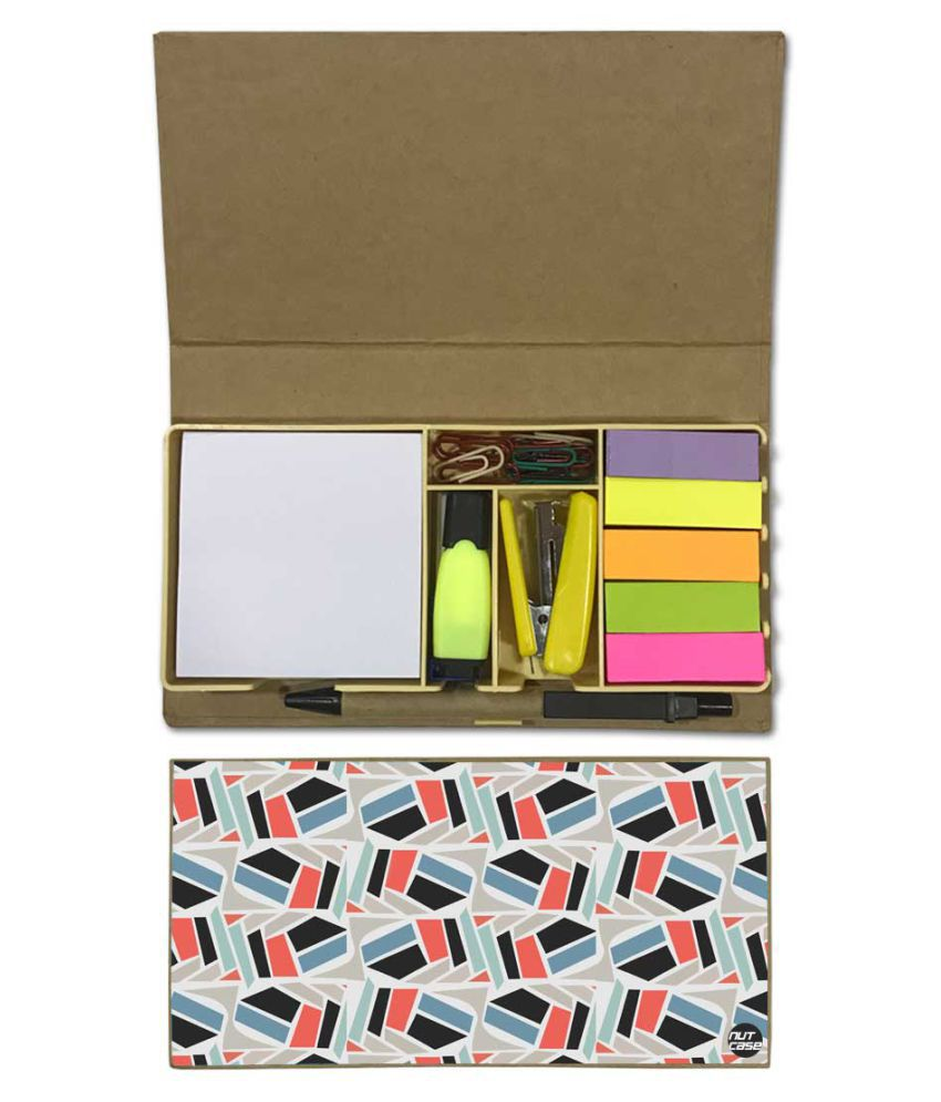Nutcase Designer Stationary Kit Desk Customised Organizer Memo Notepad - Design