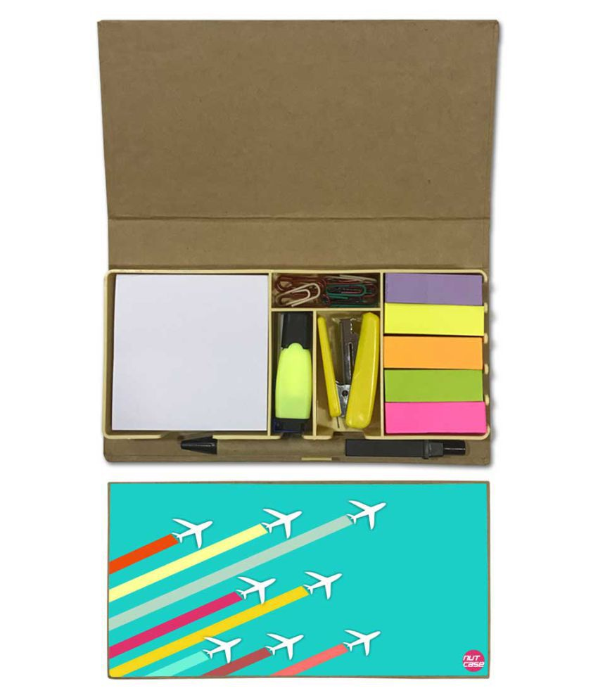 Nutcase Designer Stationary Kit Desk Customised Organizer Memo Notepad - Flying Jet