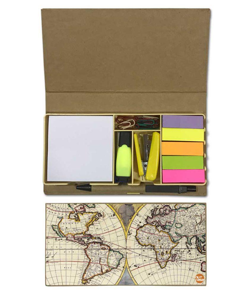 Nutcase Designer Stationary Kit Desk Customised Organizer Memo Notepad - Vintage Design Map