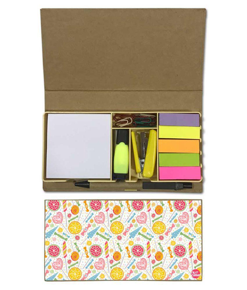 Nutcase Designer Stationary Kit Desk Customised Organizer Memo Notepad - Colorful Candy