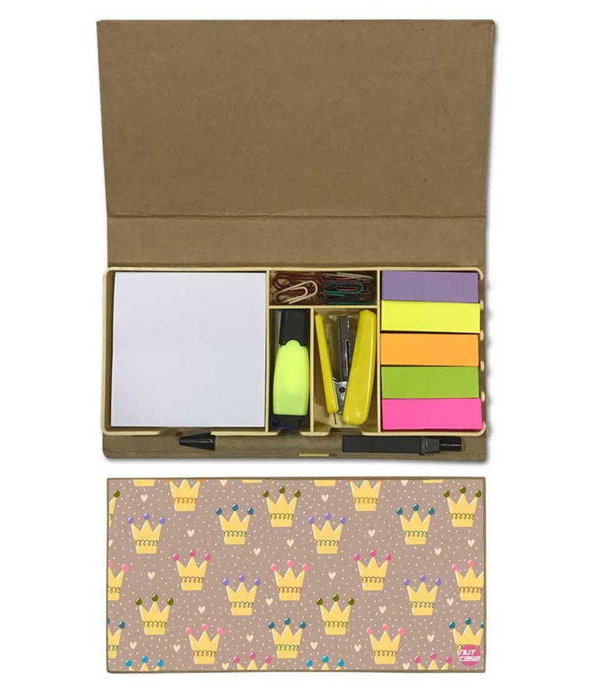 Nutcase Designer Stationary Kit Desk Customised Organizer Memo Notepad - King Crown