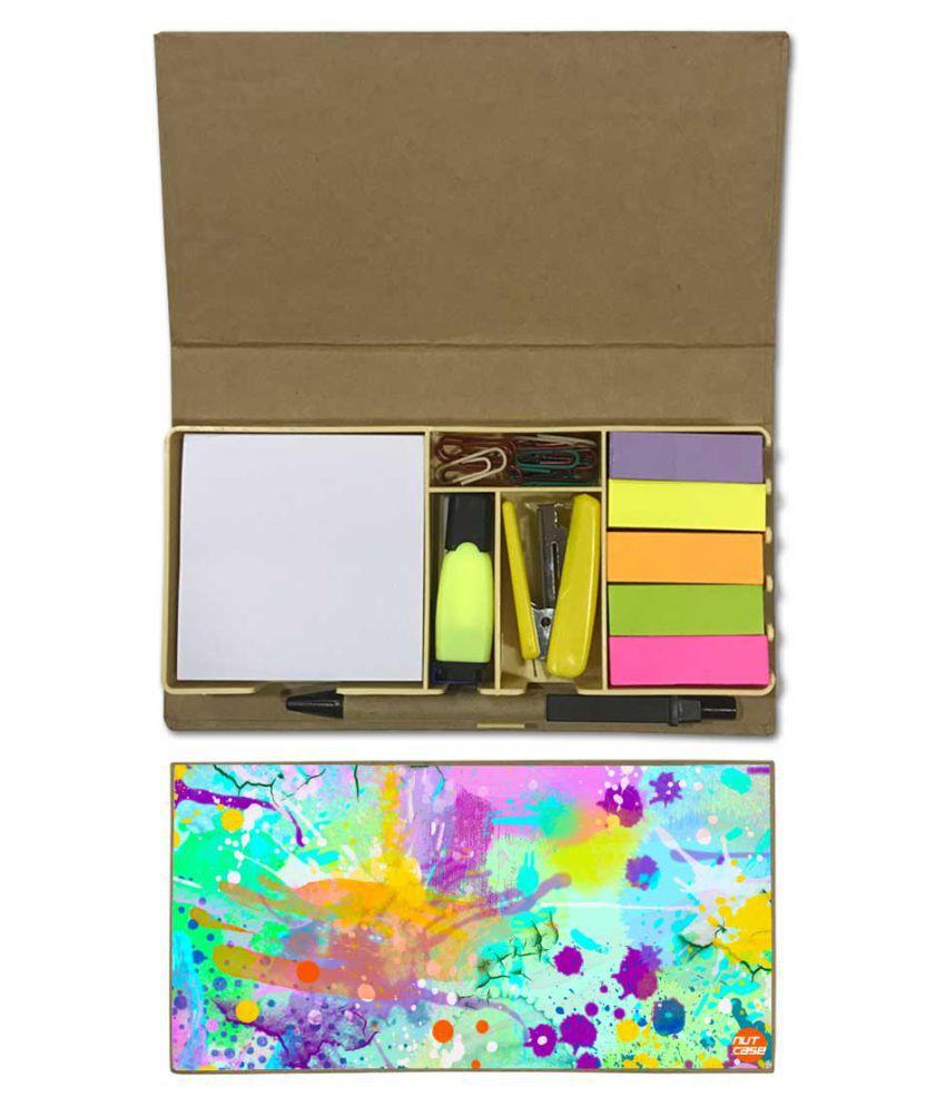 Nutcase Designer Stationary Kit Desk Customised Organizer Memo Notepad - Water Color