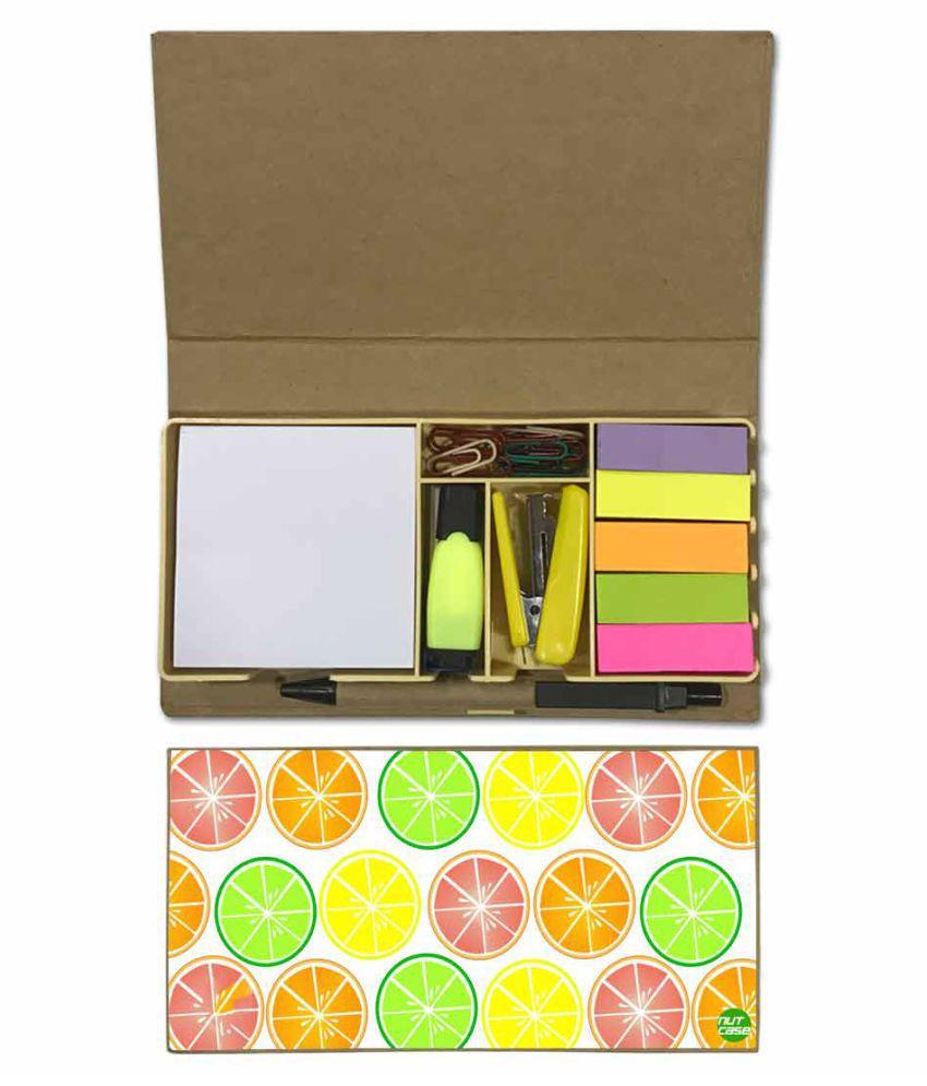 Nutcase Designer Stationary Kit Desk Customised Organizer Memo Notepad - Colorful Lemons