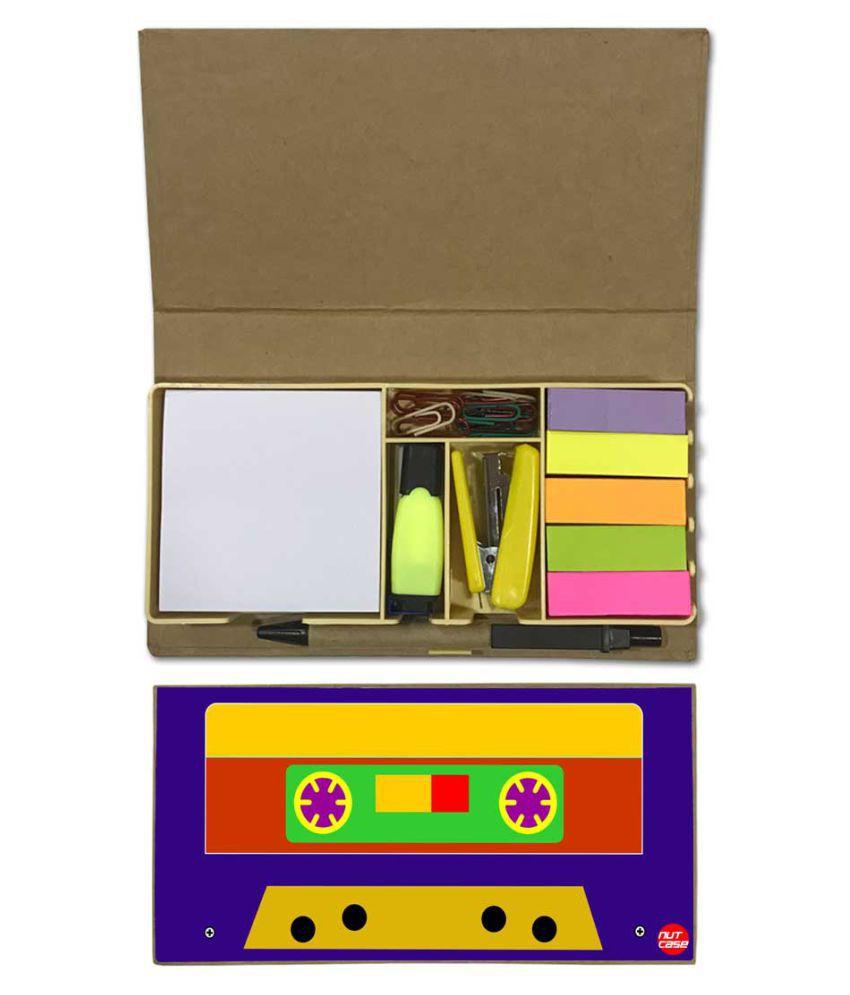 Nutcase Designer Stationary Kit Desk Customised Organizer Memo Notepad - Retro Casette Blue & Mustard Yellow