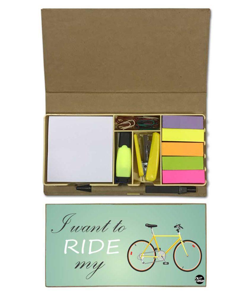 Nutcase Designer Stationary Kit Desk Customised Organizer Memo Notepad - I Want To Ride