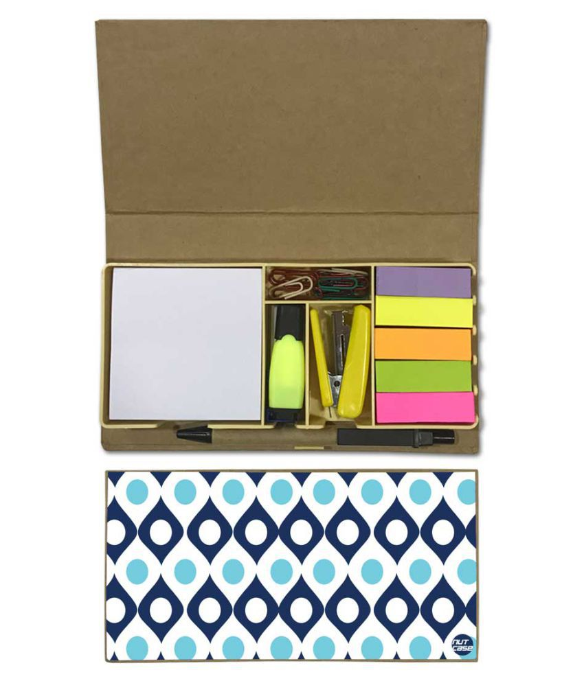 Nutcase Designer Stationary Kit Desk Customised Organizer Memo Notepad - Shades Of Blue Retro