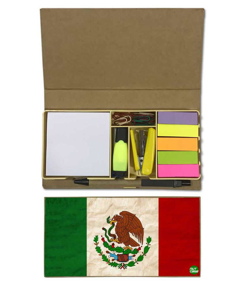 Nutcase Designer Stationary Kit Desk Customised Organizer Memo Notepad - Mexico Vintage Distressed Flag
