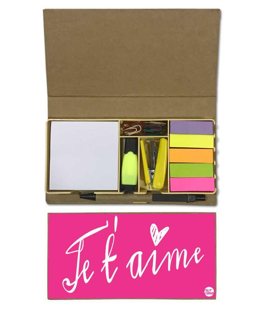 Nutcase Designer Stationary Kit Desk Customised Organizer Memo Notepad - Designer Pink