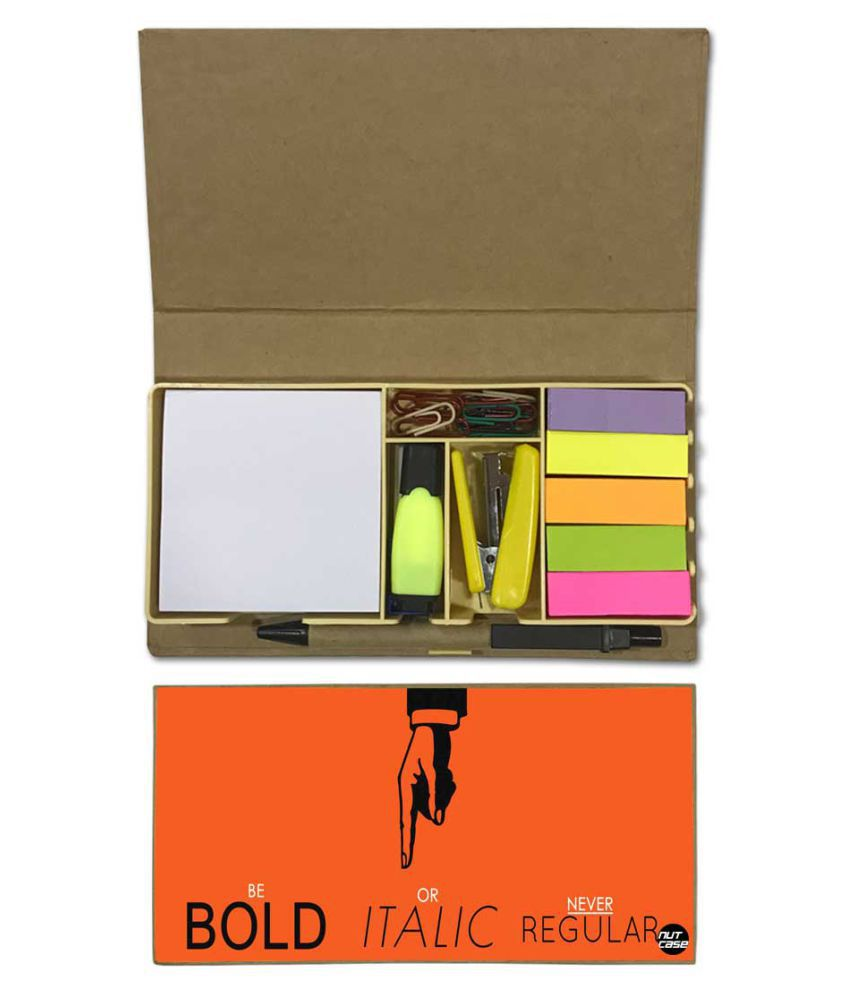 Nutcase Designer Stationary Kit Desk Customised Organizer Memo Notepad - Bold Italic Regular