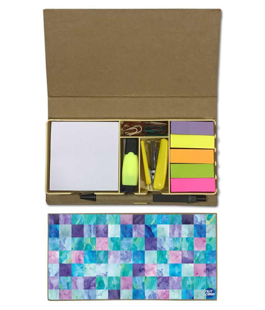 Nutcase Designer Stationary Kit Desk Customised Organizer Memo Notepad - Colored Box
