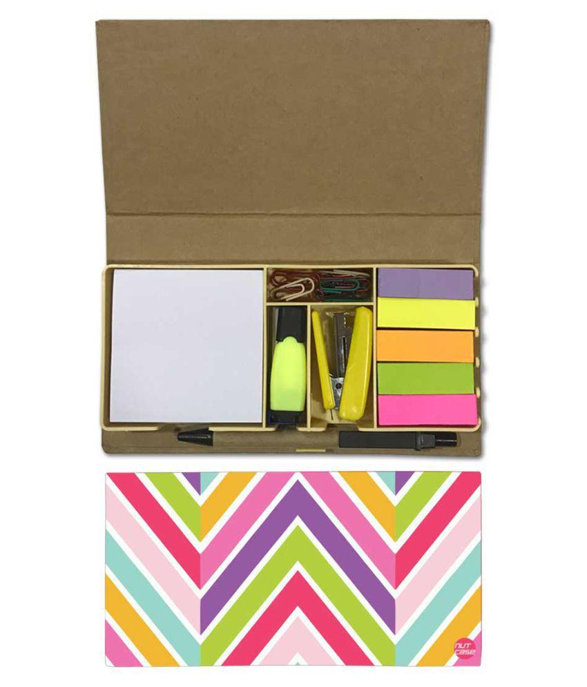 Nutcase Designer Stationary Kit Desk Customised Organizer Memo Notepad - Colored Lines