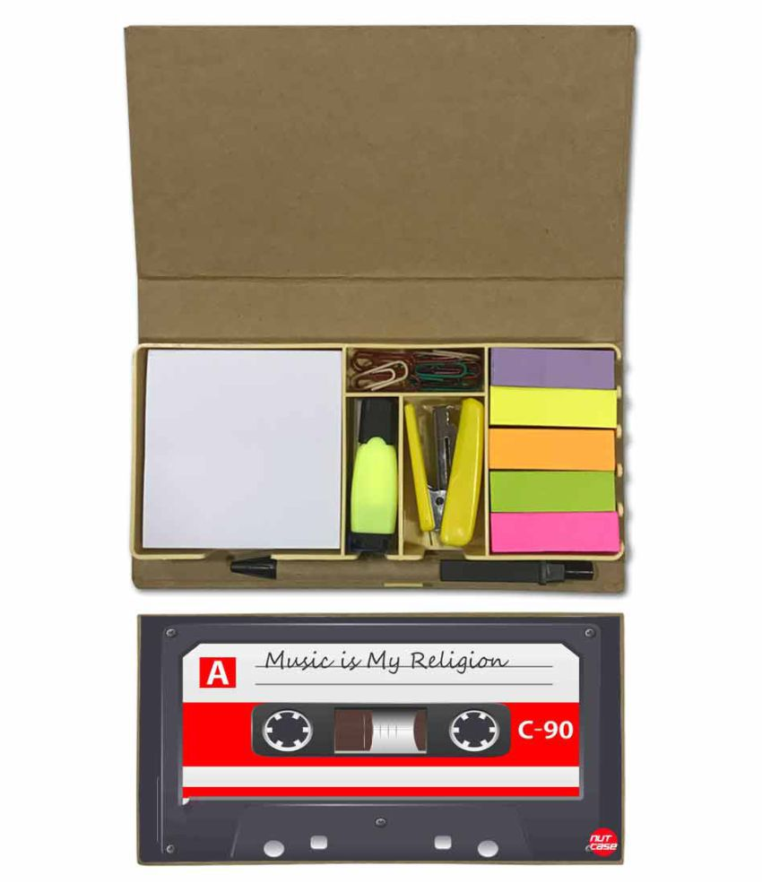 Nutcase Designer Stationary Kit Desk Customised Organizer Memo Notepad - Music Is My Religion
