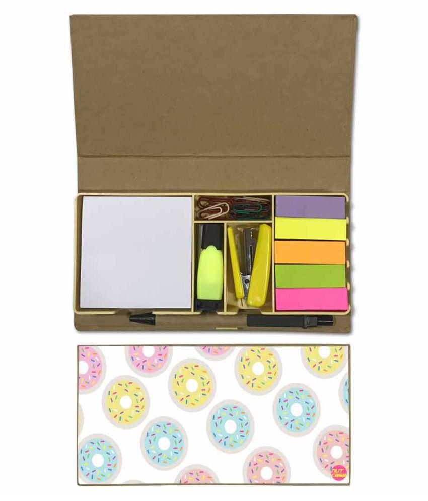 Nutcase Designer Stationary Kit Desk Customised Organizer Memo Notepad - Doughnuts