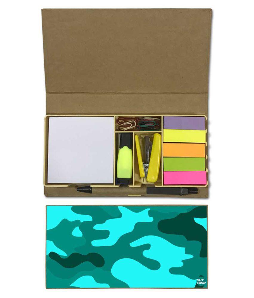 Nutcase Designer Stationary Kit Desk Customised Organizer Memo Notepad - Sea Blue Army Camouflage