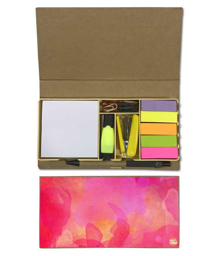Nutcase Designer Stationary Kit Desk Customised Organizer Memo Notepad - Pink Watercolor