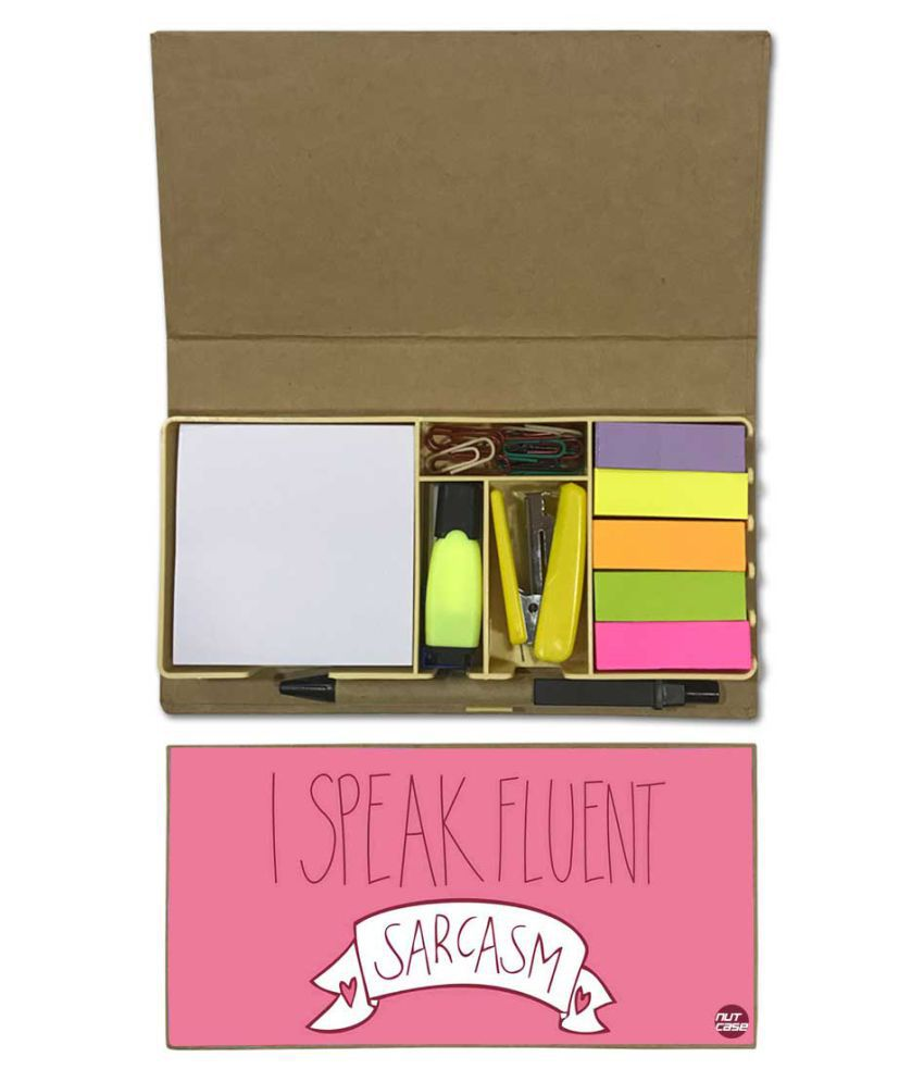 Nutcase Designer Stationary Kit Desk Customised Organizer Memo Notepad - I Speak Fluent Sarcasm