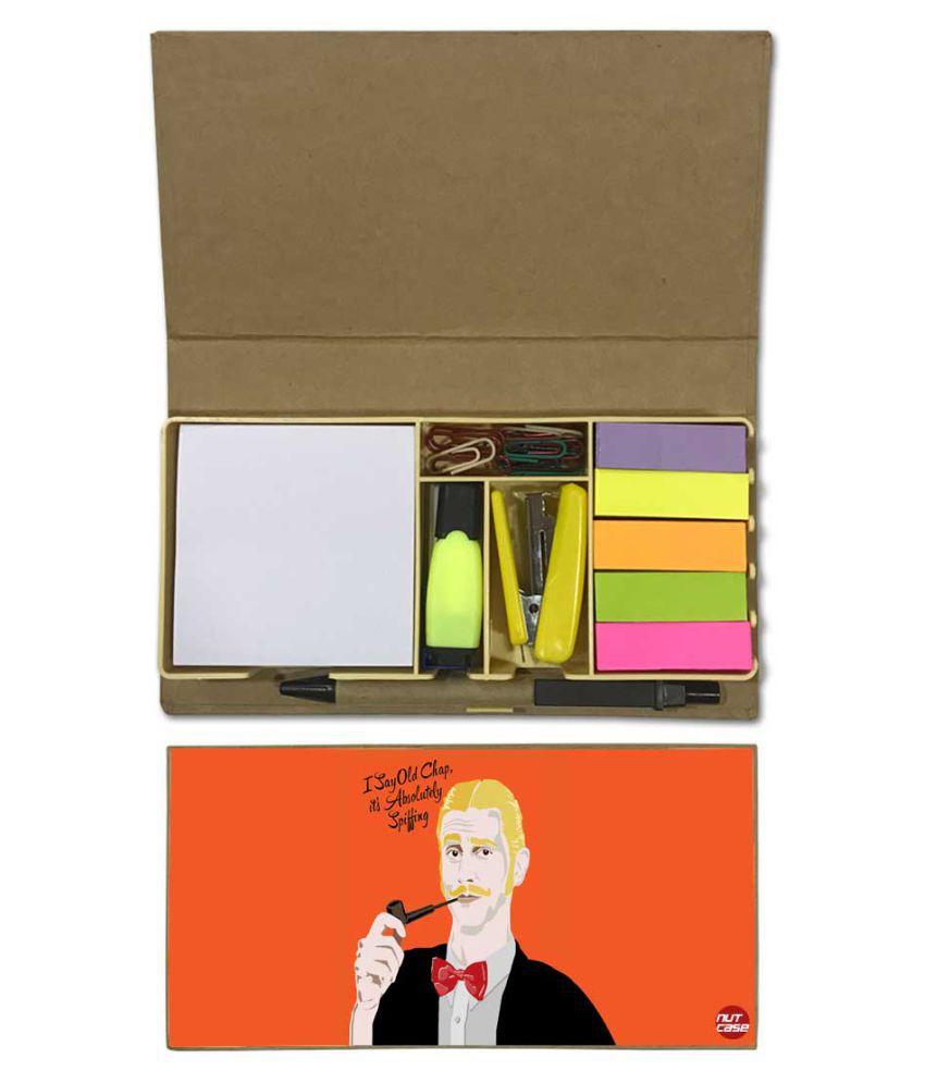 Nutcase Designer Stationary Kit Desk Customised Organizer Memo Notepad - I Say Old Chap