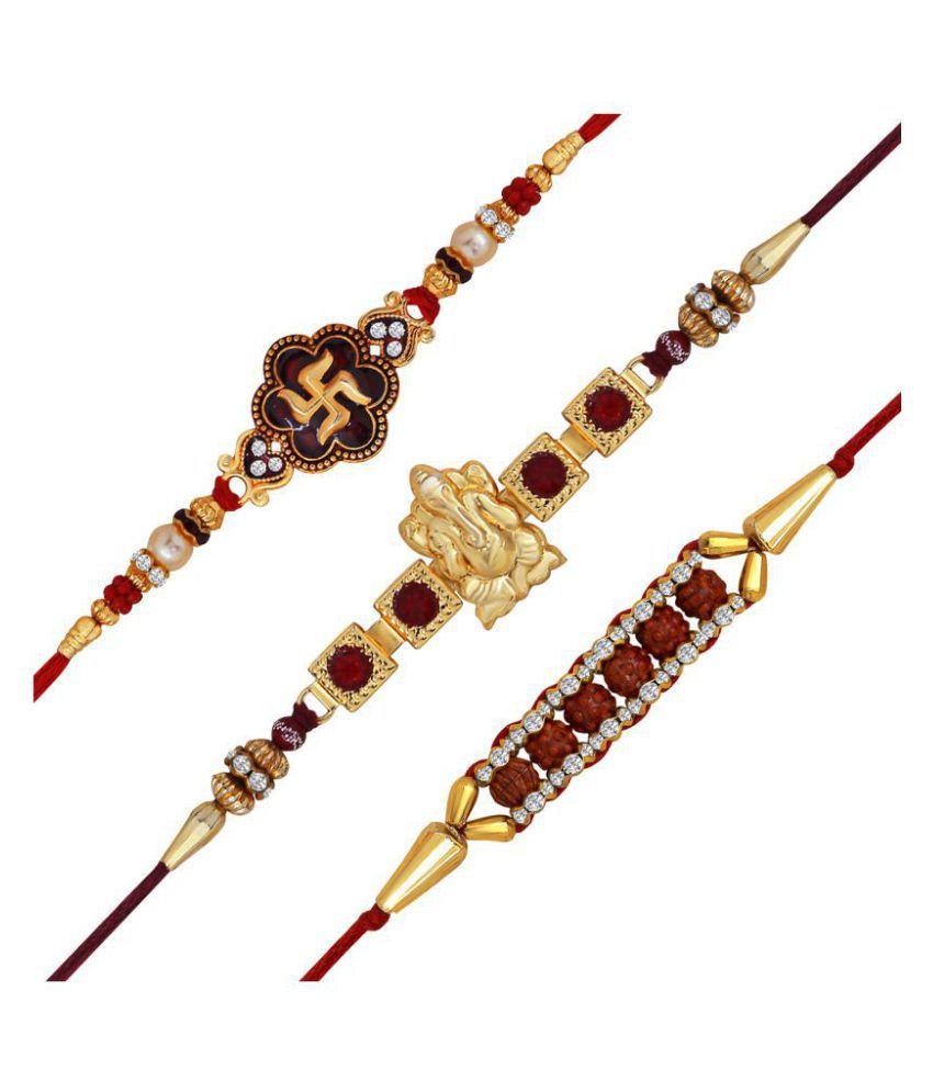Om Jewells Rakshabandhan Gifts Combo of 3 Classic Swastika Ganesha and Rudraksha Studded Rakhi for Beloved Brother CO1000154