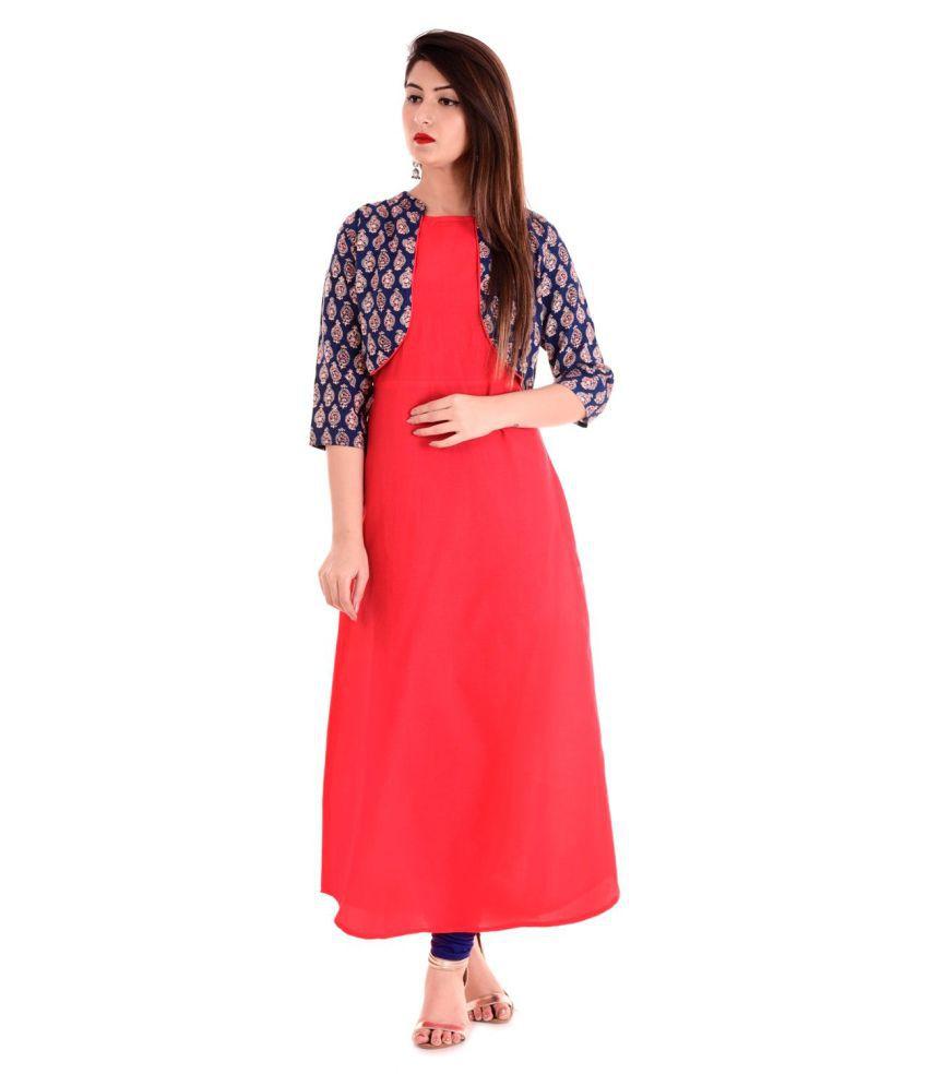 Saubhagyawati Fashions Red Cotton Straight Kurti