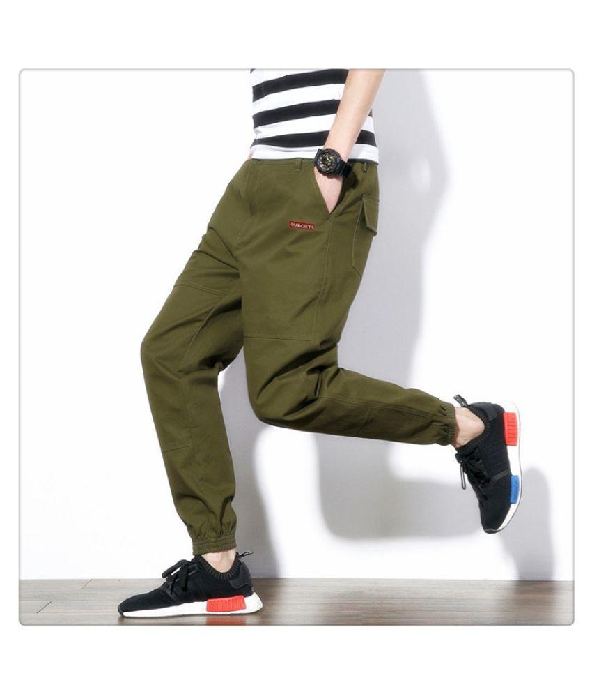 Super Me Green Regular -Fit Flat Trousers