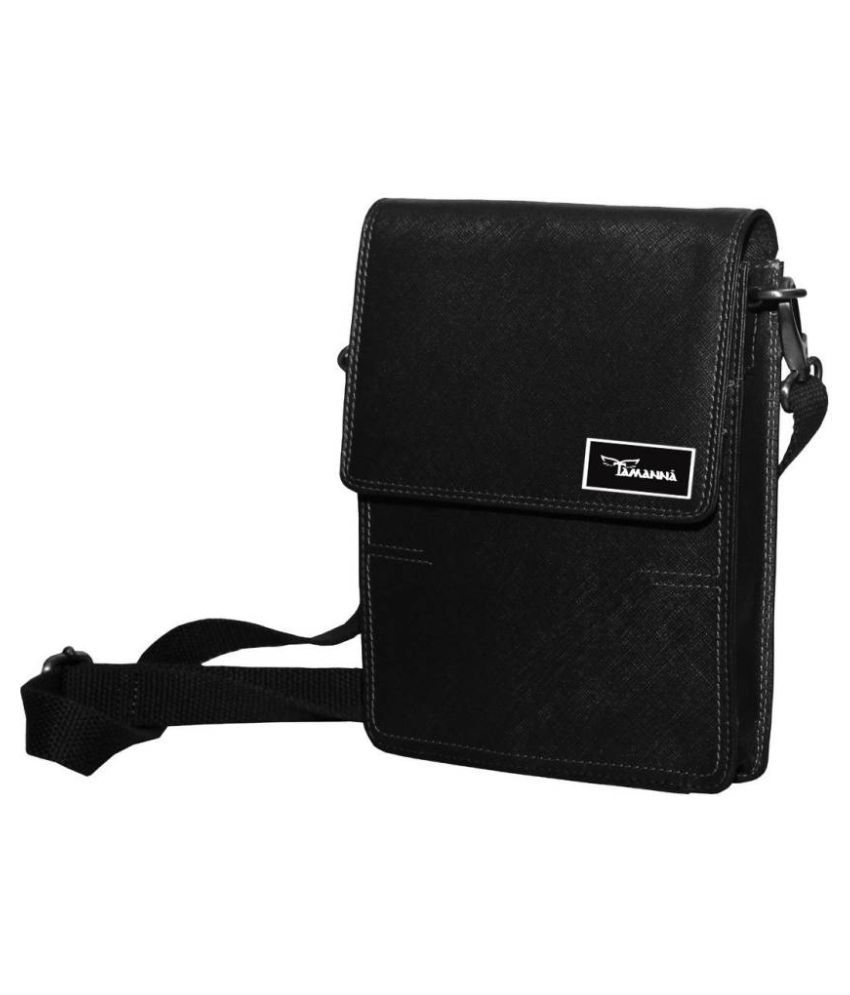 Tamanna LSBU17-TM_15 Black Leather Casual Messenger Bag