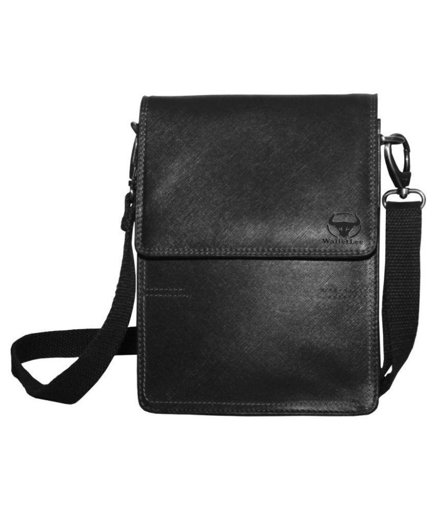 WalletLee LSBU17-WL_15 Black Leather Casual Messenger Bag