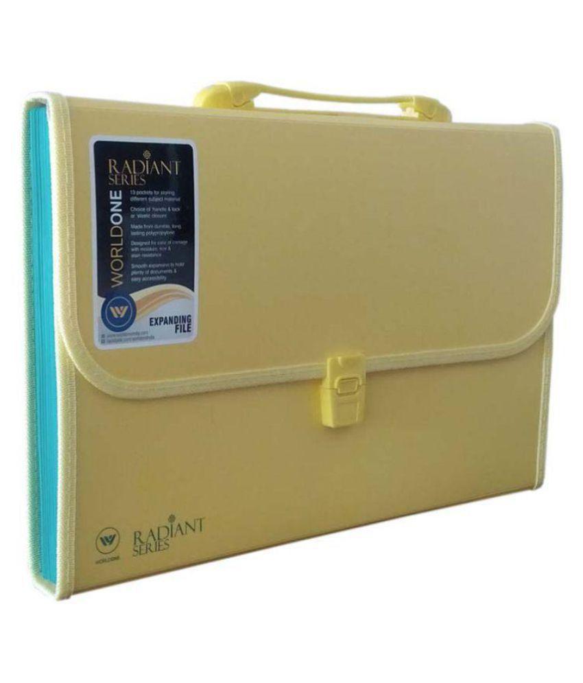 Worldone Expanding File 13 Pockets Yellow