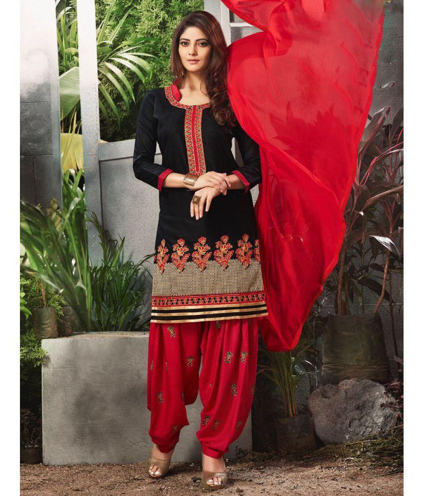 Diva N Diya Black Cotton Dress Material