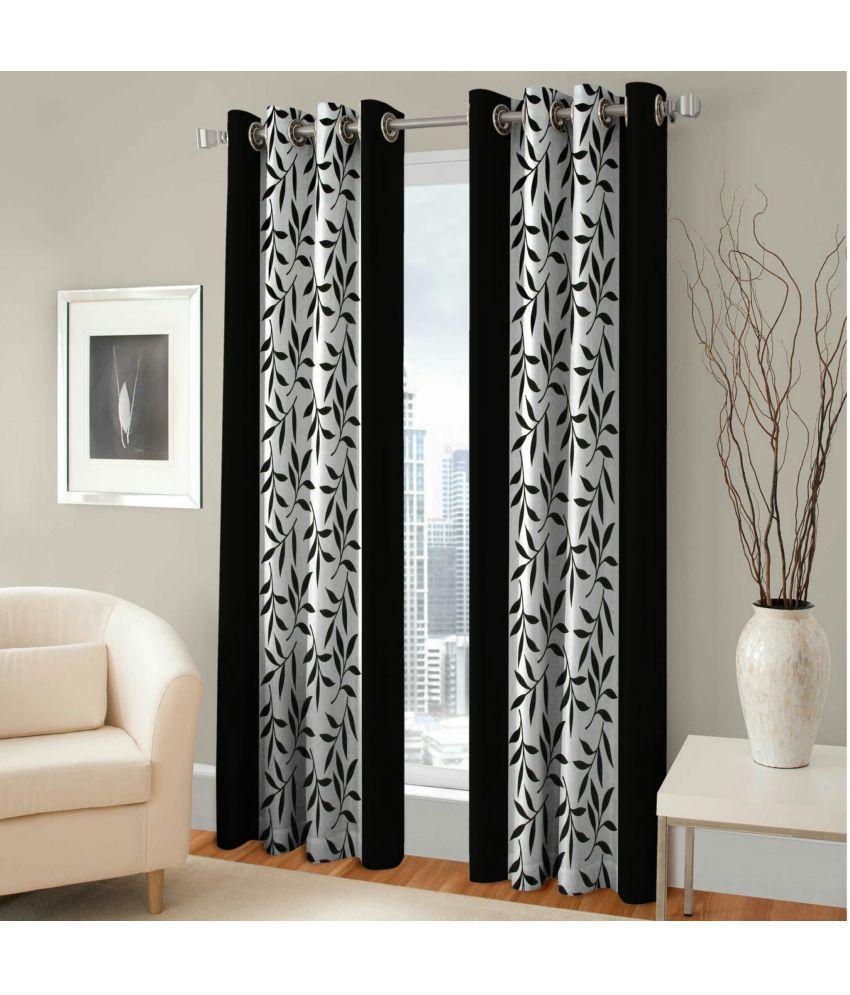 Swarnadeep Set of 2 Door Semi-Transparent Eyelet Polyester Curtains Black