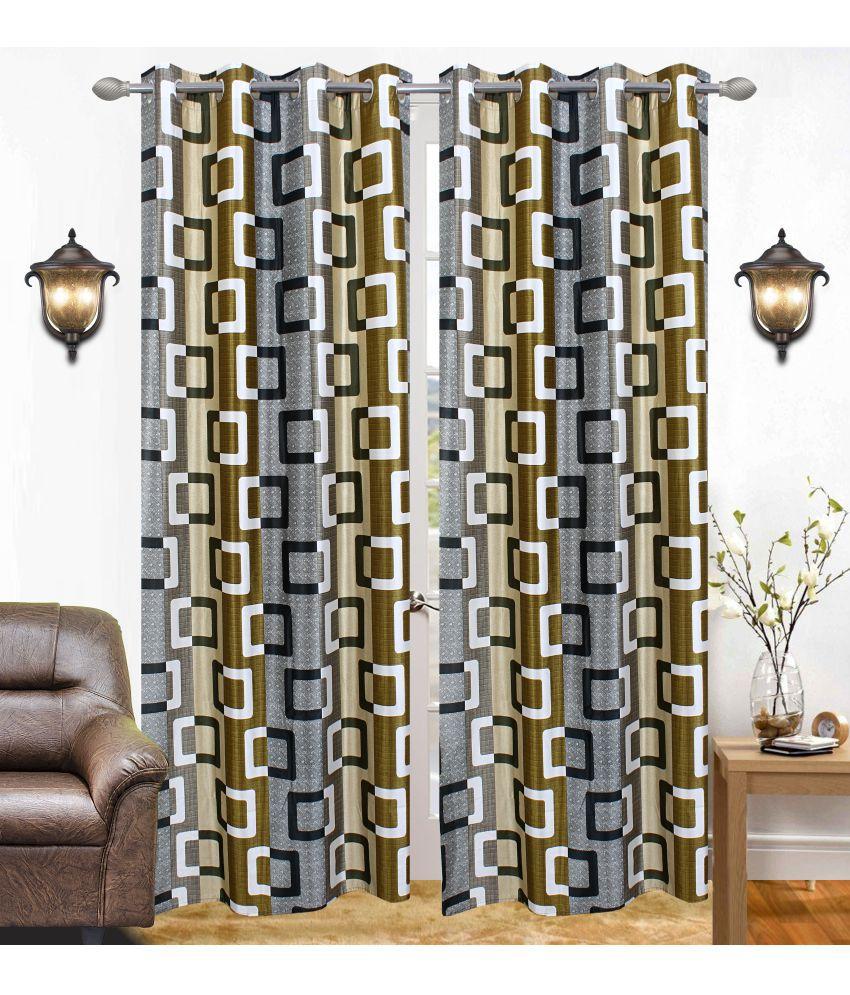 Swarnadeep Set of 2 Window Semi-Transparent Eyelet Polyester Curtains Grey