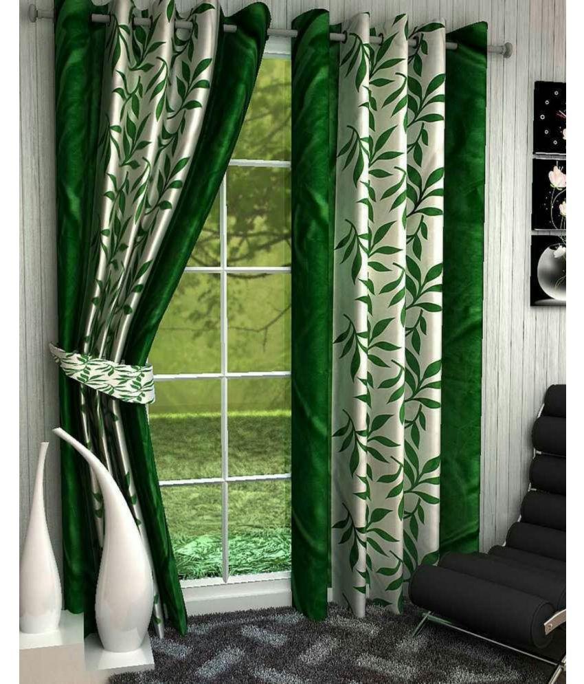 Swarnadeep Set of 2 Window Semi-Transparent Eyelet Polyester Curtains Green