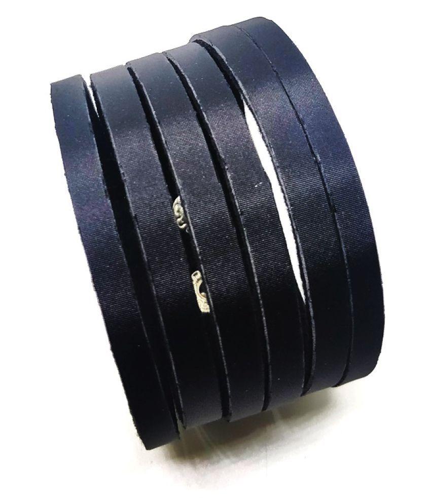 GoldNera Black Faux Leather Bracelets