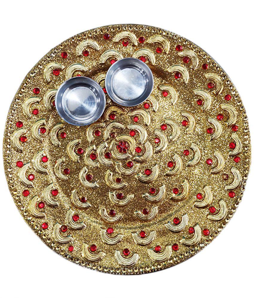 Beautiful Karwachauth/Navratri/Diwali Pooja Golden Thali, Best Thali  For every Occassion