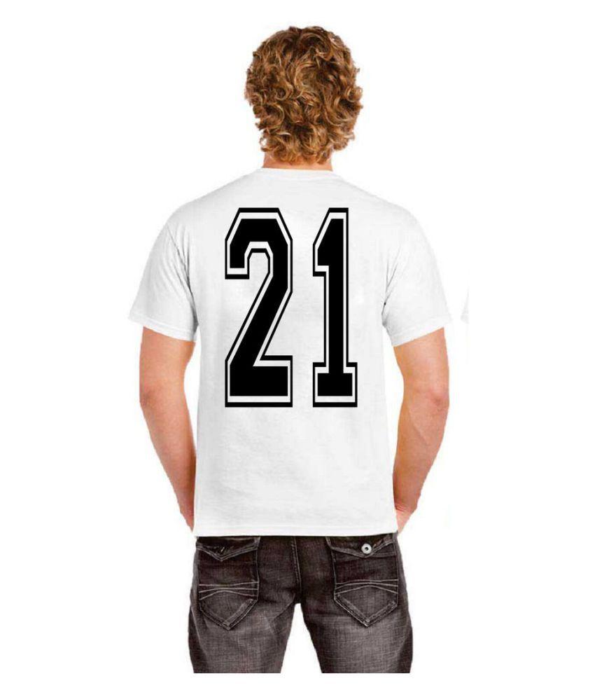 Ritzees Unisex Half Sleeve White Cotton T-Shirt Cotton T-Shirt Sports & Gym Jersey 21 for Men, Women, Kids(White, 34)