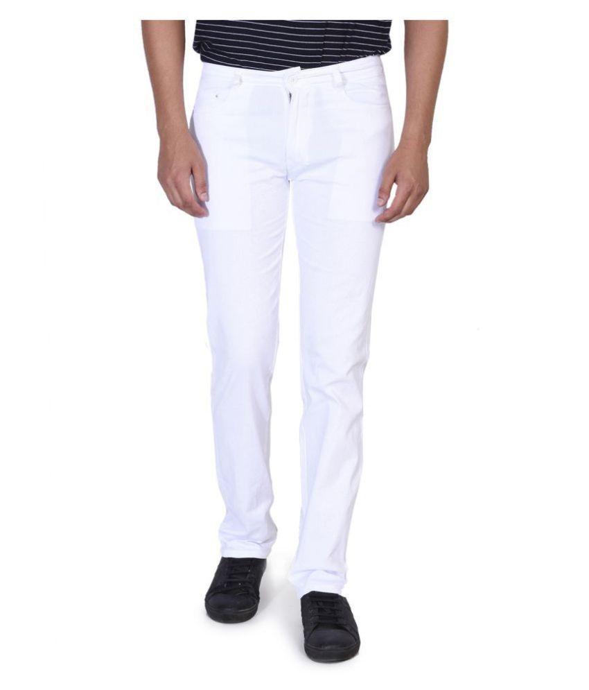 Ruace White Slim -Fit Flat Trousers